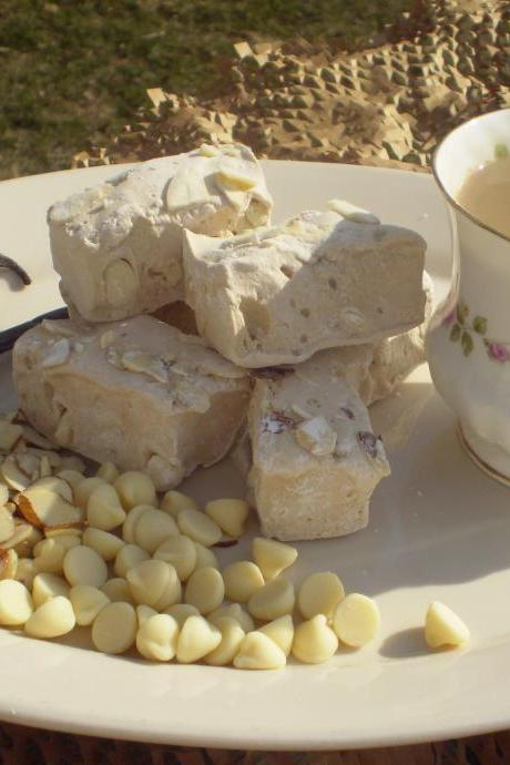 French Vanilla White Chocolate Almond Coffee Marshmallows homemade confection